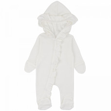 Комбинезон для новорожденных белый с капюшоном и рюшами Зефир интерлок Юлла 795и од