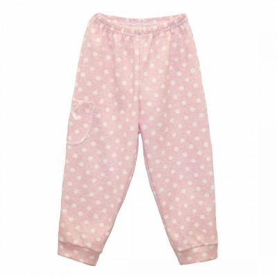 Штанишки для новорожденной девочки розовые в горошек интерлок Юлла 670и