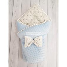 Конверт-одеяло на выписку Горошинки голубой велюр + звезда