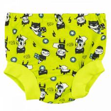 Трусы под памперс для мальчиков салатовые с супер-героями кулирка Юлла 411007