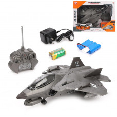 Самолет р/у Военный, 4 канала свет, звук, стреляет ракетами в комплекте 2шт., аккумулятор, элемент питания ААх2шт
