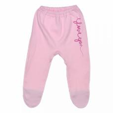 Ползунки для новорожденной девочки розовые Love интерлок Юлла 009и/п ап