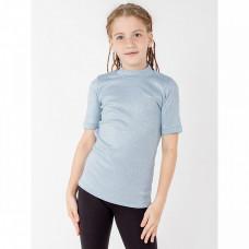 Водолазка для девочки с коротким рукавом, голубая