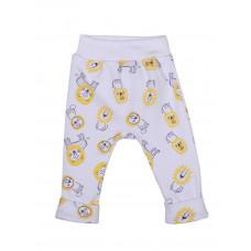 """Белые штанишки со львами """"Львёнок"""" для новорождённого"""