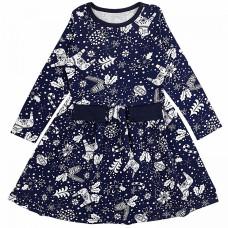 Платье темно-синее с принтом интерлок Юлла 552200103