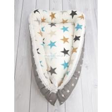 """Кокон гнездышко для новорожденного """"Серая звезда+звезды"""" КН-05-10"""