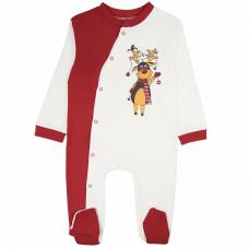 Комбинезон для новорожденных на кнопках белый с красным на НОВЫЙ ГОД интерлок Юлла 393и/н ап