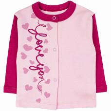 Кофточка для новорожденной девочки розовая Love интерлок Юлла 463и ап