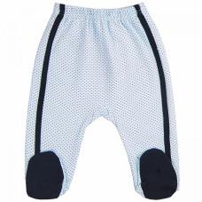 Ползунки для новорожденных нежно-голубые в крапинку с черной полоской Усатик футер Юлла 693ф/у ап