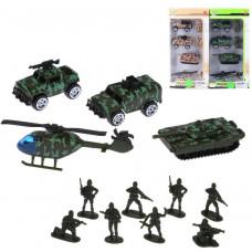 Игр.набор Военный, в комплекте: транс.средство металл. 4шт., фигурки 8шт., коробка