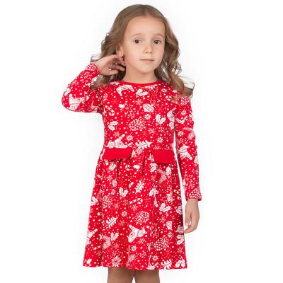 Платье красное с белым принтом интерлок Юлла 552200102