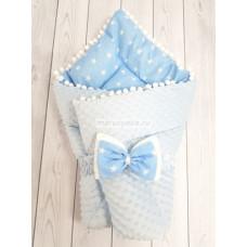 Конверт-одеяло на выписку Горошинки голубой велюр+голубая звезда