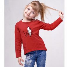 Джемпер красный Love кулирка для девочки Юлла 498100302
