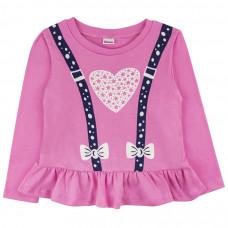 Джемпер розовый с сердечком для девочки, интерлок Юлла 932200201