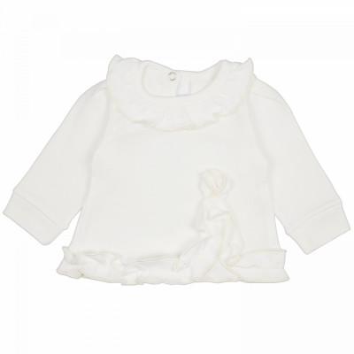Джемпер белый для новорожденной девочки с рюшами Зефир интерлок Юлла 793и од