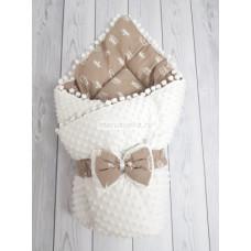 Конверт-одеяло на выписку демисезонный Горошинки белый велюр и коричневый с белыми коронам мод 8