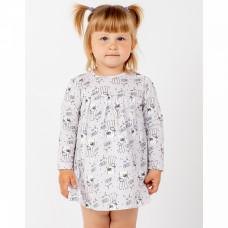 Платье-боди серое с зайчиками интерлок Юлла 1039203402