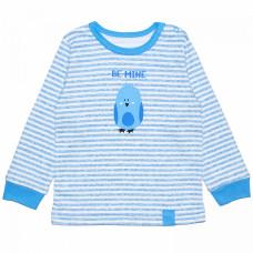 Джемпер для новорожденного голубой в полоску с птичкой Be Mine интерлок Юлла 518и/п ап