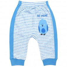 Штанишки для новорожденных голубые в полоску с птичкой Be Mine интерлок Юлла 496и/п ап