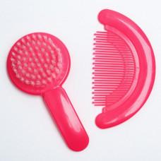 Расчёска детская + массажная щётка для волос, от 0 мес. розовый