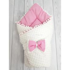 Конверт-одеяло на выписку демисезонный Горошинки белый велюр и розовое пшено мод 1 Марусяка