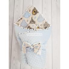 Конверт-одеяло на выписку Горошинки голубой велюр+мордочки