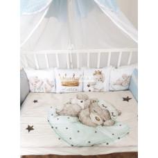 """Набор в кроватку из подушечек """"Маленький Принц"""", цвет голубой мод.36"""