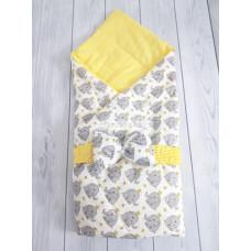 """Конверт-одеяло на выписку """"Малыш"""", мод 1 Слоники желтые"""