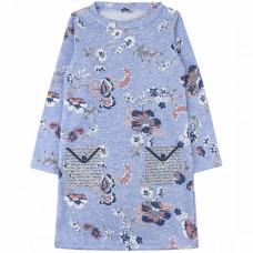 Платье синее с принтом, футер 600/2ф Юлла