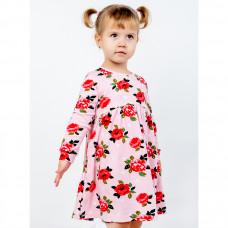 Платье розовое с красными маками, интерлок Юлла 1137200201
