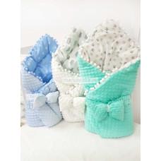 Конверт-одеяло на выписку Горошинки голубой / белый / бирюзовый Весна-Осень