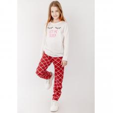 Пижама красная в клеточку для девочки кулирка Юлла 936100501